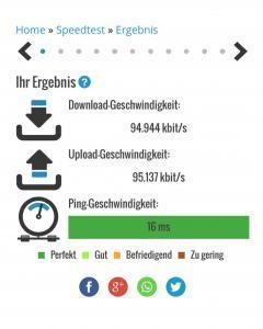 Ca. 100 MBit/s Download und Upload Geschwindigkeit mit dem Handy.